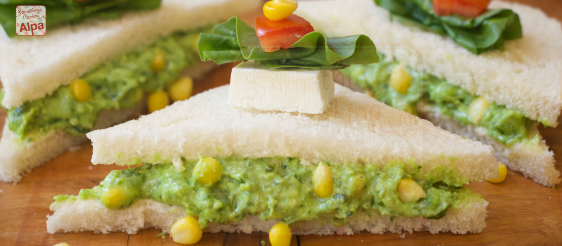 Spinach Corn and Paneer Cheese Sandwiches